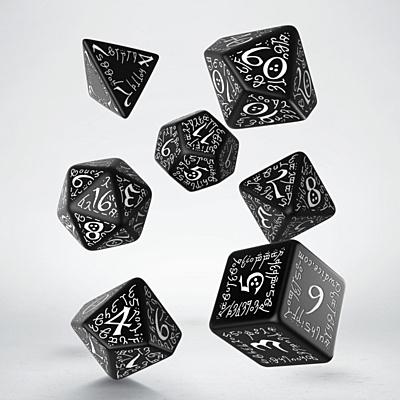 Sada 7 kostek - elfské černo-bílé