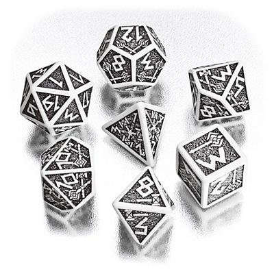 Sada 7 kostek - trpasličí bílo-černé (SDWA02)