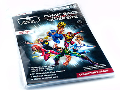 """Comic Bags - Resealable Silver Size (7 1/8""""x10 3/8"""") (100ks) Ultimate Guard"""