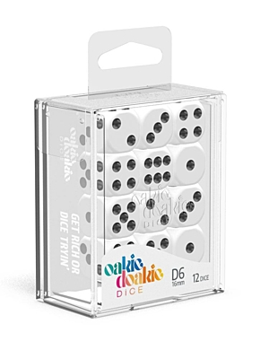 Sada 12 kostek D6 - Solid White (16 mm)